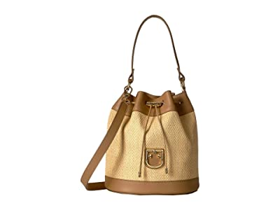 Furla Corona Small Drawstring Bucket Bag (Beige/Caramello) Handbags