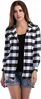 C.Cozami Women's Long Sleeves Casual Checkered Shirt