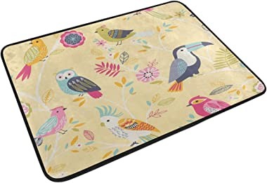 MASSIKOA Cartoon Owl Parrot Non Slip Backing Entrance Doormat Floor Mat Rug Indoor Outdoor Front Door Bathroom Mats, 23.6 x 1