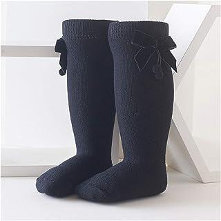 LiuQ, LiuQ Calcetines hasta Rodilla Niñas Bowknot Baby Socks otoño Invierno niños niña Rodilla Alto Calcetines sólido Color Suave algodón niño pequeño Calcetines Largos Niña (Color : Black)