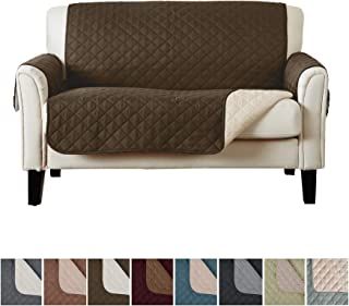 Deluxe Reversible Quilted Furniture Protector. (Loveseat 75 X 88 - Chocolate / Flax) FIts most Loveseats up to 73 long arm to arm.