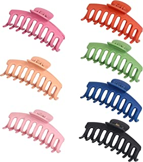 7 Pcs Plastic Hair Claw Clips Nonslip Large Girls Hair Claw Clips Jaw for Women and Girls Thin Hair, Strong Hold for Thick...