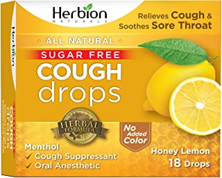 Herbion Naturals Sugar-Free Cough Drops with Natural Honey Lemon Flavor, 18 Drops, Oral Anesthetic - Relieves Cough, Throat, and Bronchial Irritation, Soothes Sore Mouth, For Adults and Children 2yo+