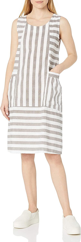 M Regular dealer Made in Excellent Italy Women's Dress Striped Sleeveless Round Neck