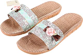 Ling-long Floral Flat Slippers Woman Candy Color Flower Decoration Home Floor Shoes Lady Flax Shoe