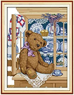 Stamped Cross Stitch Kits 11CT - Baby Bear 16x20 inch Starter Kit DIY Preprinted Needlepoint Embroidery for Adult Beginner...