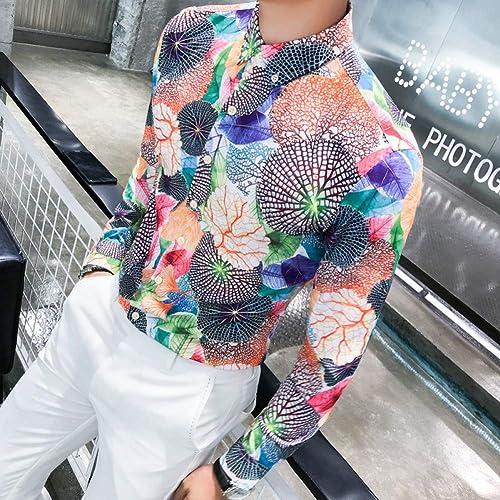 MKDLJY Homme Chemises Nouveaux Hommes Chemise à Manches Longues Imprimer Club de Coupe Slim Chemises sociales Robe de Smoking