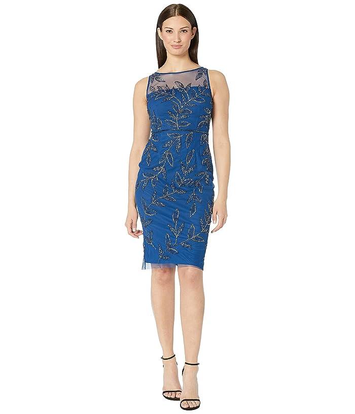 Adrianna Papell Beaded Cocktail Sheath Dress (Night Flight) Women