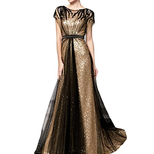 79d25bac8183 Favors Women's Sequin A Line Long Evening Dress with Sleeve Formal Gown EV11