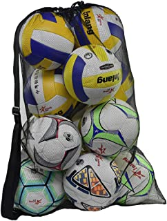 Rudmox Heavy Duty Mesh Ball Bag,Drawstring Sport Equipment Storage Bag for Basketball, Soccer, Sports Beach and Swimming Gears with Adjustable Shoulder Strap for Adults and Kids