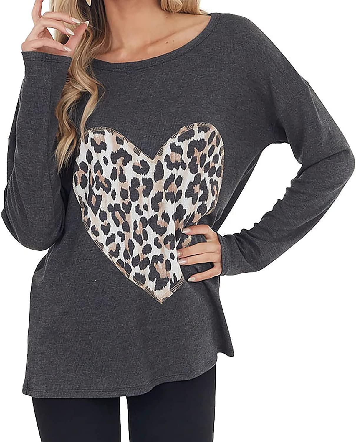 Women's Long Sleeve Round Neck Blouse Tops Love Heart Leopard Print Shirts Casual Loose Tunic Tops Tops