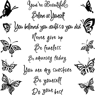 19 Pieces Wall Stickers Inspirational Wall Mirror Decals Stickers Self Motivated Believe on Yourself You're Beautiful Wall...