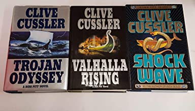 3 Book Set :: Clive Cussler DIRK PITT NOVELS [ Trojan Odyssey === Valhalla Rising === Shock Wave ] Hardcover (First Editio...