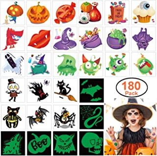 180pcs Assorted Halloween Tattoos, 30 Designs including 36 Glow in the Night Children Tattoos Halloween Trick or Treat Ghost Monster Pumpkin Tattoos