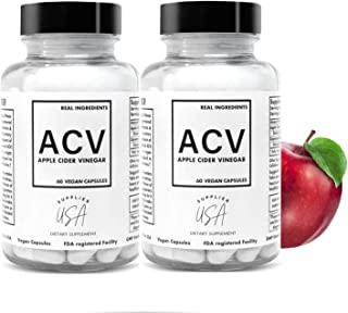 ACV Apple Cider Vinegar Capsules - Natural Powerful 500mg Premium-Non-GMO Vegetarian Cider Capsules, Made in USA FDA Facility - (2 Pack | 120 Pills)