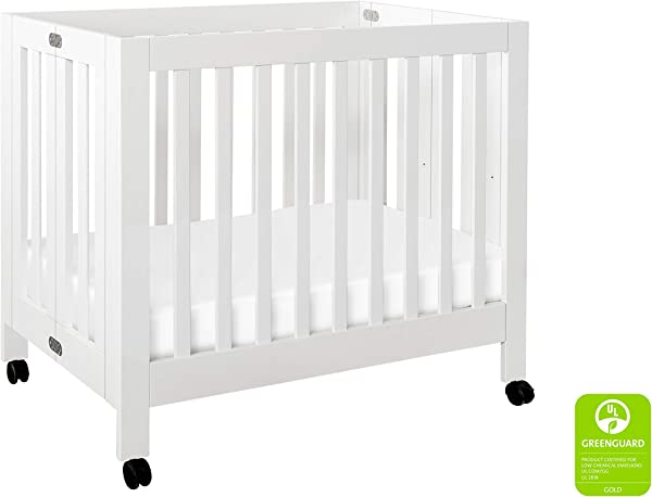 Babyletto Origami Mini Portable Crib With Wheels In White 2 Adjustable Mattress Positions Greenguard Gold
