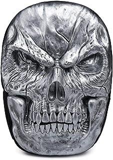 Hamkaw 3D Skull Backpack PU Leather Cool Waterproof Rucksack Shoulder Laptop Bag Bookbag Knapsack for Men/Boys