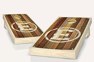 Barn Wood Monogrammed Stained Custom Cornhole Boards Regulation Size Game Set Baggo Bean Bag Toss + 8 ACA Regulation Bags