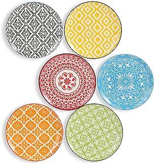 Assiettes Plates - Assiette Dessert Porcelaine - Lot de 6 Assiette Multicolore à Salade | Fruit | Hors-d'œuvre| Petit Déje...