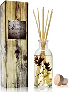 Urban Naturals Vanilla Woods Reed Diffuser Scent Sticks Gift Set   Smoked Vanilla Bean, Tonka Bean, Birchwood & Sandalwood   Light Woodsy Scent Made with Essential Oils & Real Botanical Pieces