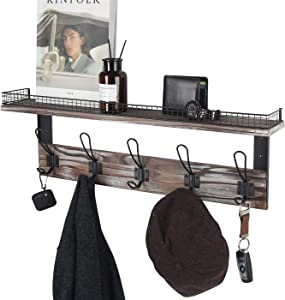 J JACKCUBE DESIGN Rustic Coat Rack Wall Mounted Shelf with 5 Hooks Key Hanger Entryway, Mudroom, Livingroom, Kitchen, Bedroom, Bathroom, Hallway - MK513A