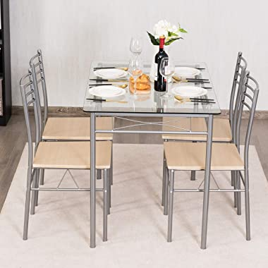 Giantex 5 Piece Dining Table Set, Kitchen Dining Set with Tempered Glass Table Top and 4 Chairs, Dinette Set for 4 for Breakf