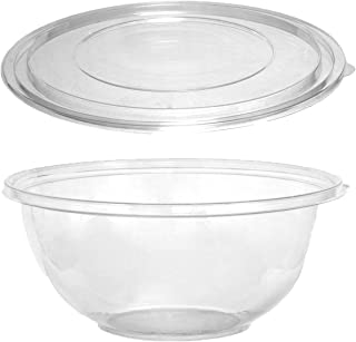 Party Essentials N216021 Soft Plastic 160-Ounce Serving/Catering Bowls, Clear with Clear Lids, Set of 2