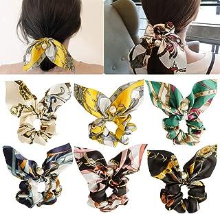 6pcs Hair Scrunchies Chiffon Elastic Hair Bands Bowknot Pearls Hair Ties Ponytail Holder Silk Scrunchy Women Rope Hair Accessories