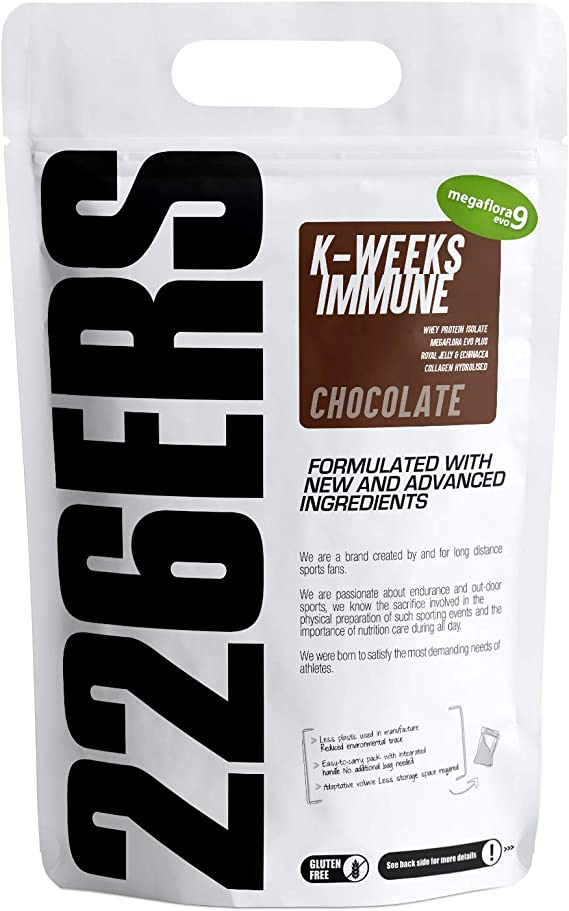226ERS K-Weeks Immune, Fortalece el Sistema Inmune con Proteína Whey Aislada, Megaflora 9 EVO, Jalea Real y Vitamina B6, Chocolate - 1000 gr