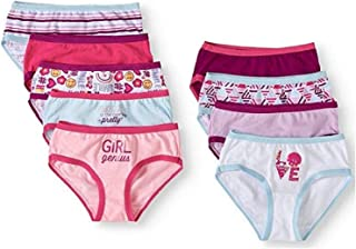 Faded Glory Girls Hipster Panties 9 Pack Size 8 Girl Power Prints 100/% Cotton