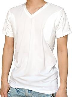 [クレール] CREAL 脇汗パット付きシャツ(Vネック 白)2枚組 吸水速乾/接触冷感/抗菌防臭