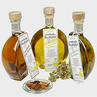 direct&friendly Bio Olivenöl Geschenkset 3 Flaschen Bio Olivenöl mit Chili und Oregano