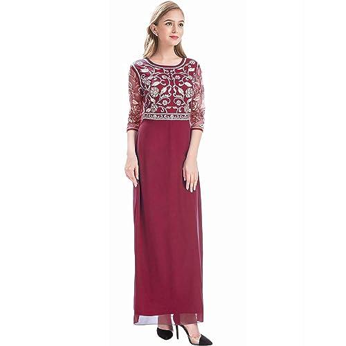 865f6e71925 MANER Women Chiffon Beaded Sequin 3 4 Sleeve Long Gowns Prom Evening  Bridesmaid Dress