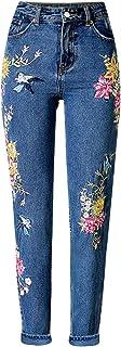 semen Pantalones Vaqueros de Cintura Alta para Mujer