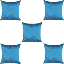 RADANYA Solid Satin Cushion Cover Set of 5 Blue 20X20 Inches