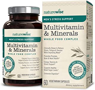 NatureWise Men's Whole Food Multivitamin with Stress Support | Minerals Complex + Sensoril Ashwagandha Organic Extract Clinically Proven Stress Support (Watch Video in Images) [1 Month - 60 Count]