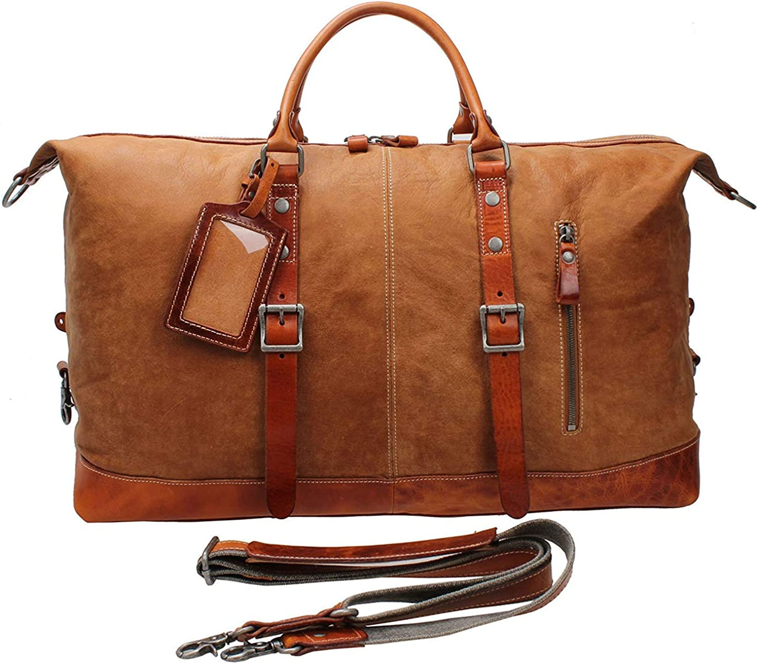 Iblueee Vintage Leather Duffle Overnight Travel Bag Sports Gym Tote B001