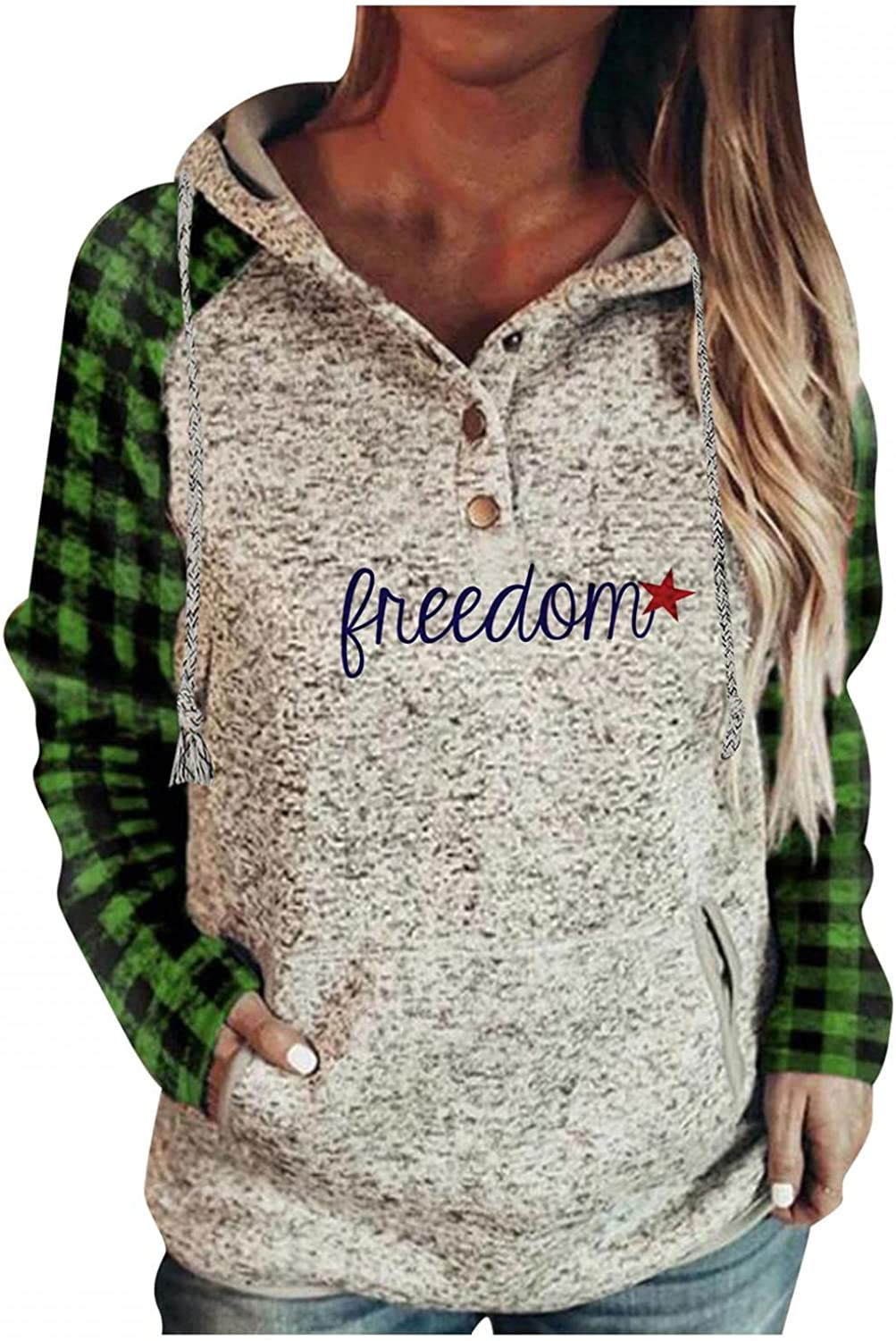 Sweatshirt for Women Hoodie Trendy Graphic Drawstring Button Down Long Sleeve Casual Plus Size Pullover with Pocket