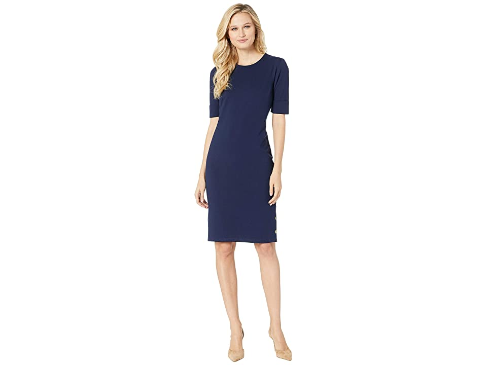 LAUREN Ralph Lauren Button-Trim Ponte Dress (Navy) Women