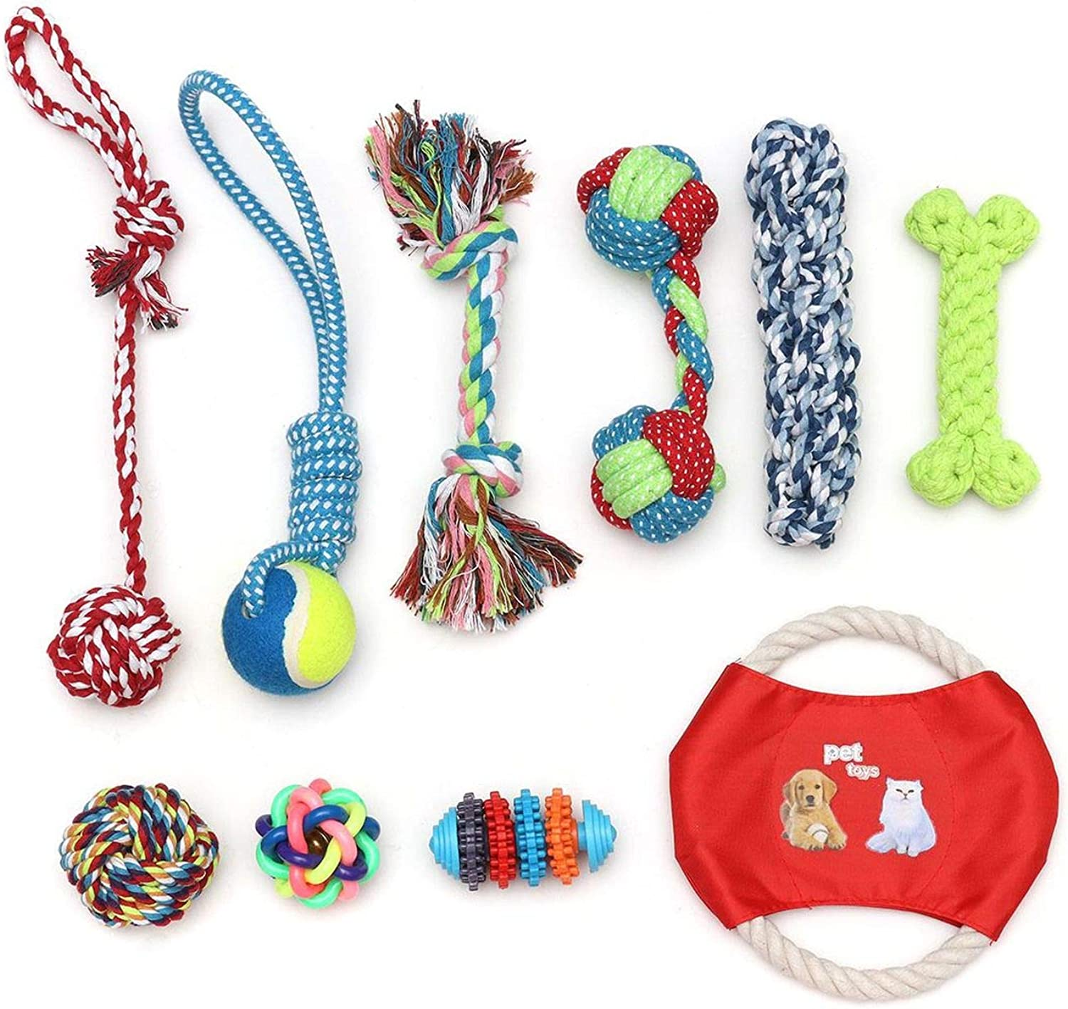 10Pcs Set Cotton Pet Dogs Rope Chewing Toys Durable NonToxic Intelligence Develop Interactive Toy Set Knot Ball Pet Supplies,colorful,S