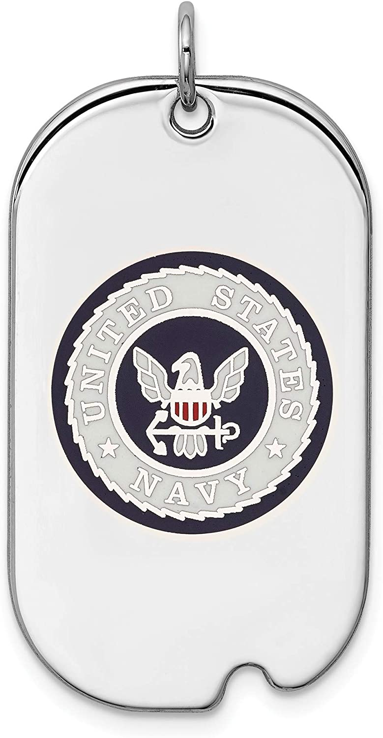 Bonyak Jewelry Sterling Silver RhodiumPlated US Navy Dog Tag