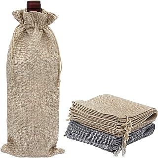 GHJK Lot de 12 Sacs à vin en Toile de Jute 14 x 34 cm Sacs Cadeaux avec Cordon de Serrage pour couvercles de Bouteilles de...