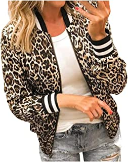 Yanvan Autumn Womens Ladies Leopard Floral Zipper Up Bomber Jacket Casual Coat Outwear