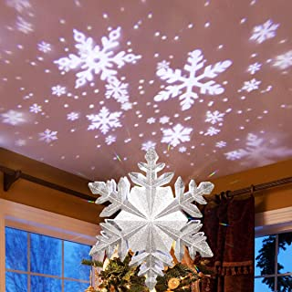 MAOYUE Christmas Tree Topper Lighted with White Snowflake Projector, Sliver Snow Tree Topper for Christmas Tree Decorations