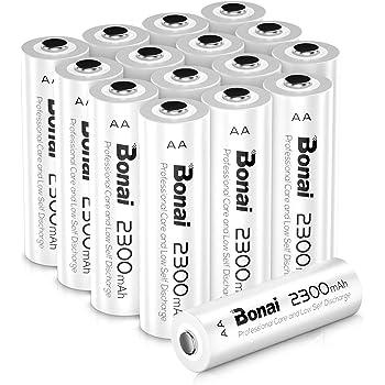 BONAI AA Rechargeable Batteries 2300mAh 1.2V Ni-MH High Capacity 16 Pack High Capacity