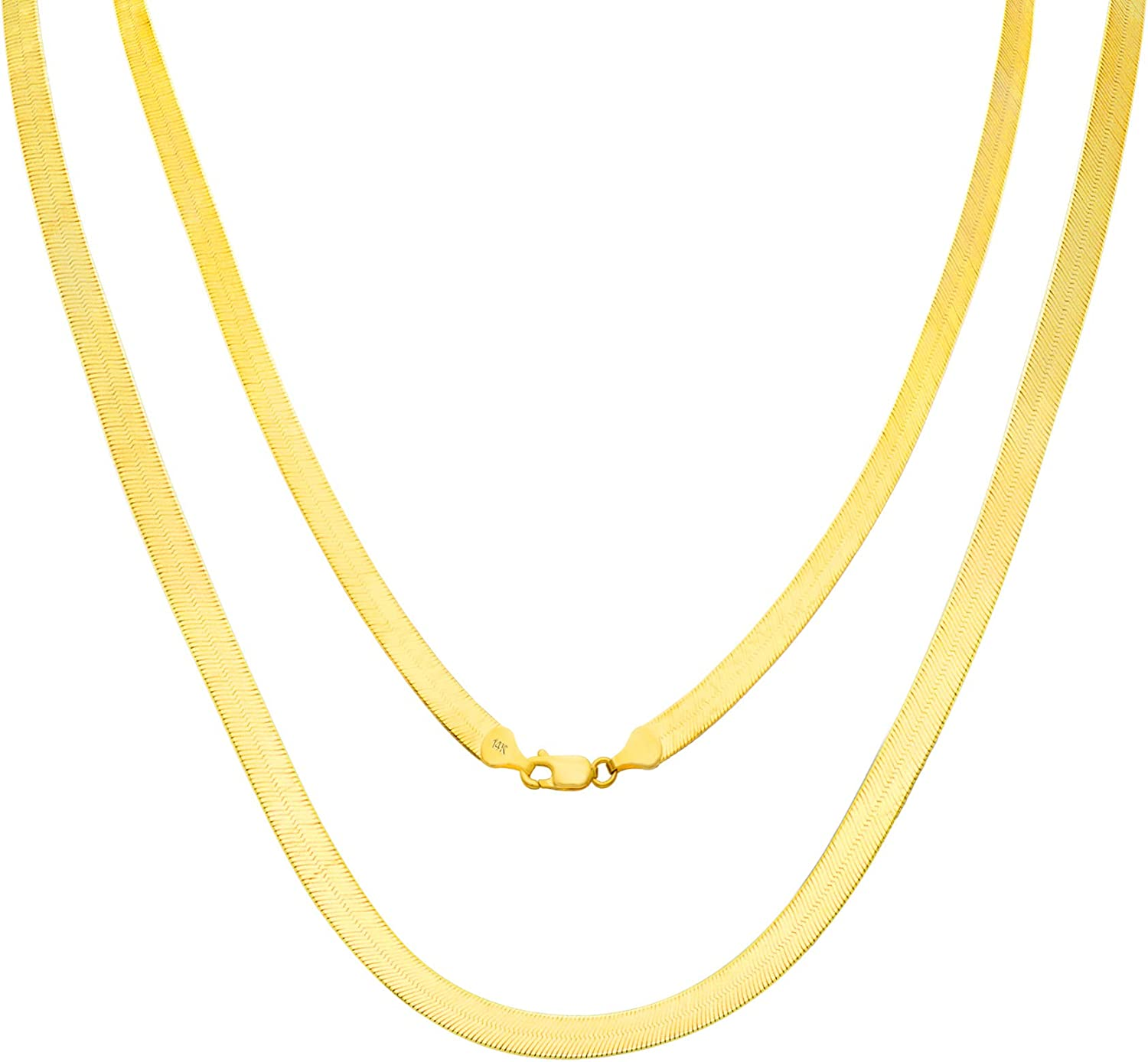 Nuragold 14k Yellow Gold 6mm Free shipping on posting reviews Solid Silky High Ranking TOP3 Flat P Herringbone