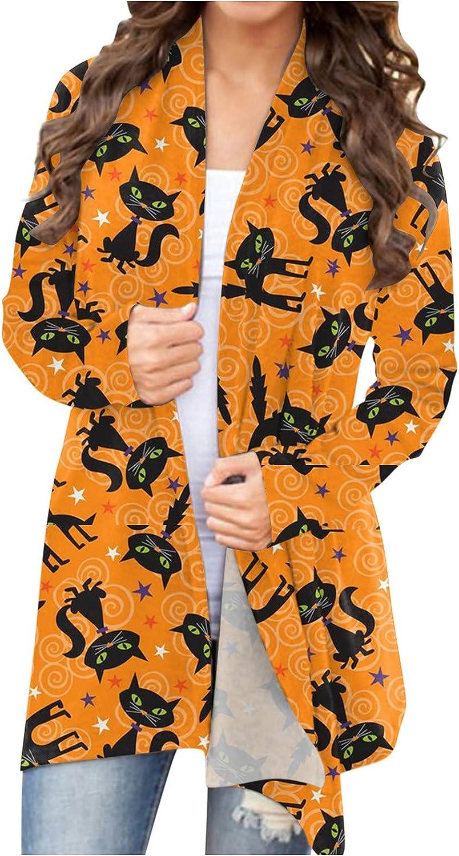 Fudule 2021 Halloween Shirts for Women Open Front Lightweight Halloween Cardigan Skull Pumpkin Cat Cardigans Loose Coat