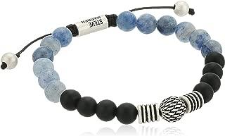 Steve Madden Mens Textured Ball and Chalcedony Bead Bracelet