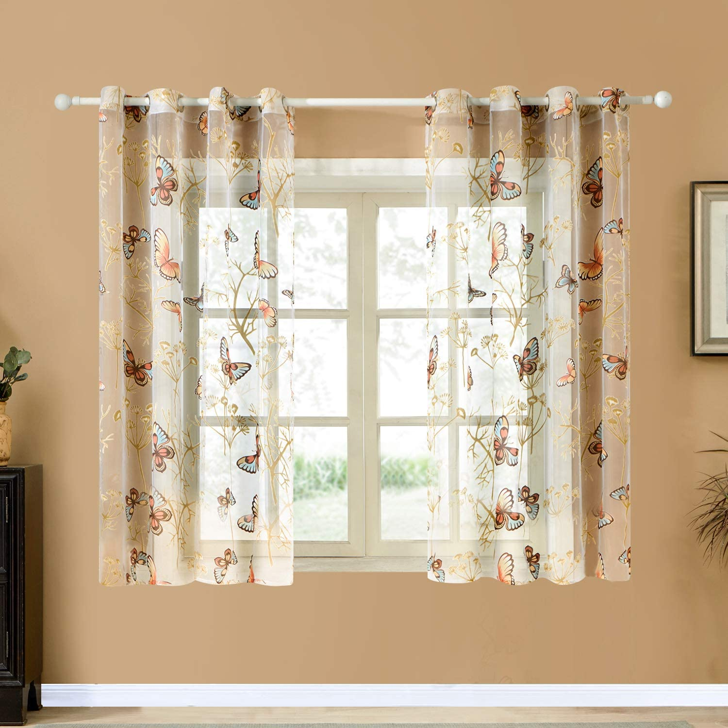 Top Finel Butterfly Voile Sheer Curtains Length for Inch Max 86% OFF 45 Bedr Sales