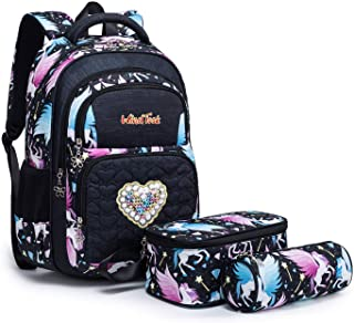 Windtook Kids School Backpack for Girls Elementary Student Bags with Insulated Lunch Bag Pencil Case 3 in 1 Bookbags